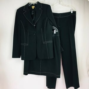 Caslon Nordstrom 3 Pc Skirt Pant Suit Blazer Black